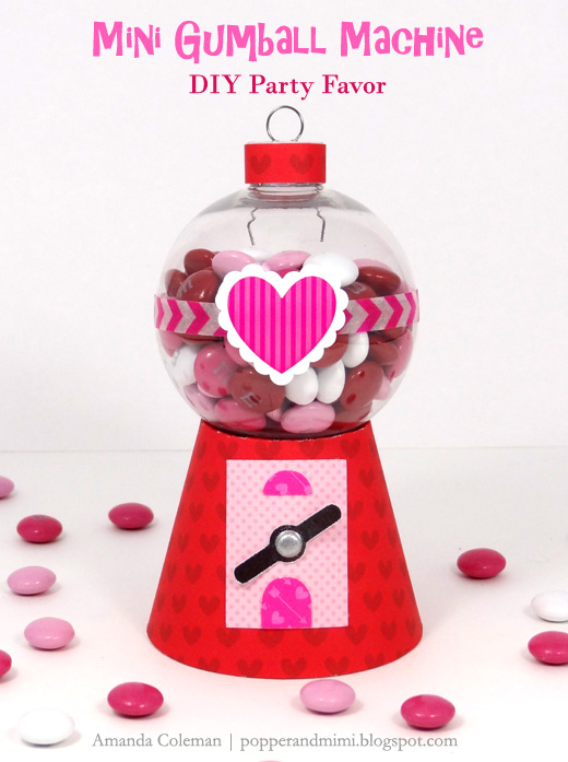 Make this cute gumball machine party favor for Valentine's Day.  Your kids will love it!    popperandmimi.com