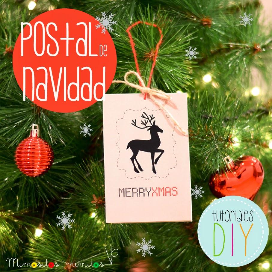 tutorial gratis cómo hacer postales de navidad - free tutorial how to make DIY xmas postcard