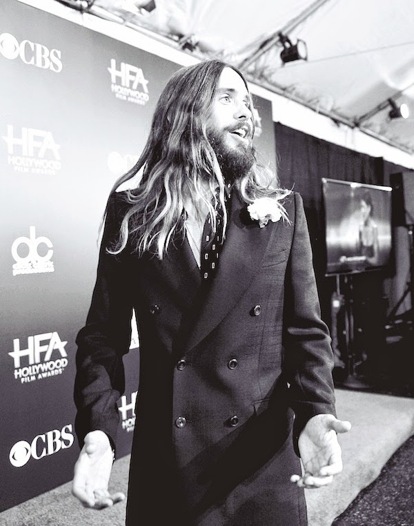 Jared Leto wears Alexander McQueen tonal check doube breasted blazer at 18th Annual Hollywood Film Awards 14th November 2014