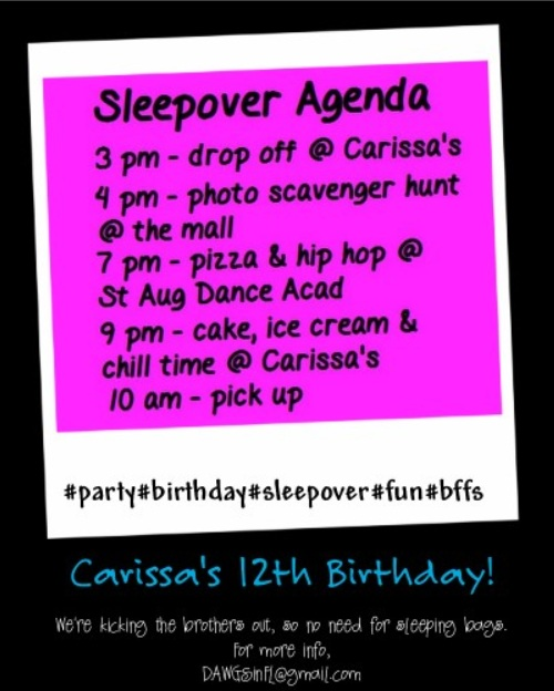 Tween Sleep Over Party Ideas