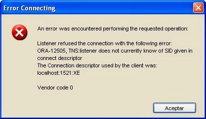 mensaje error conexión