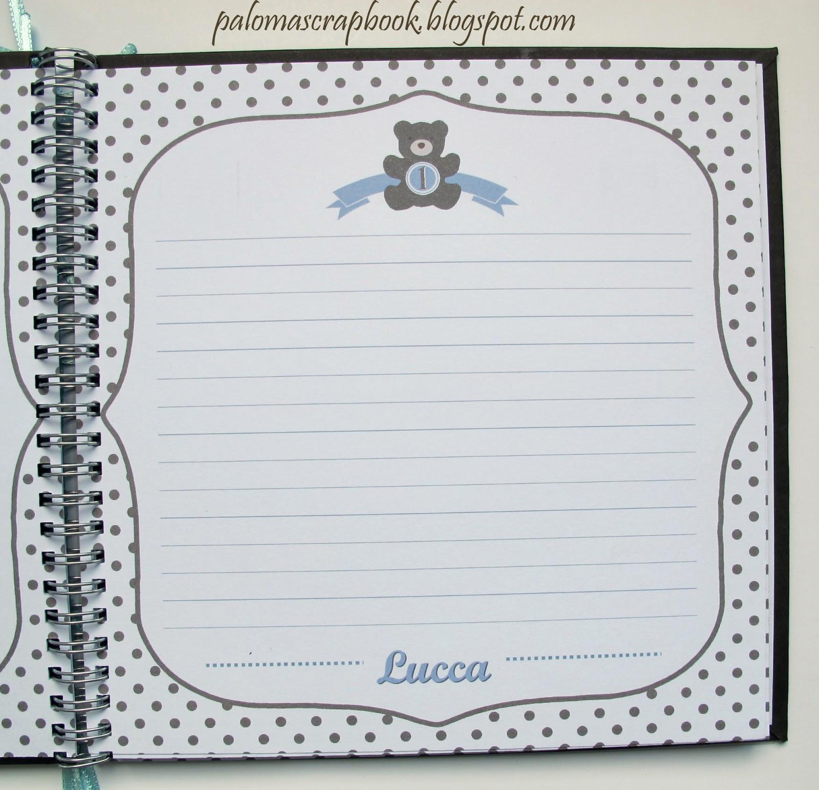 caderno de assinaturas scrapbook urso