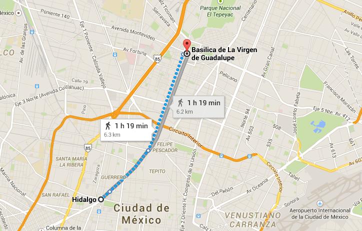 Mapa rumbo a la Basílica de Guadalupe