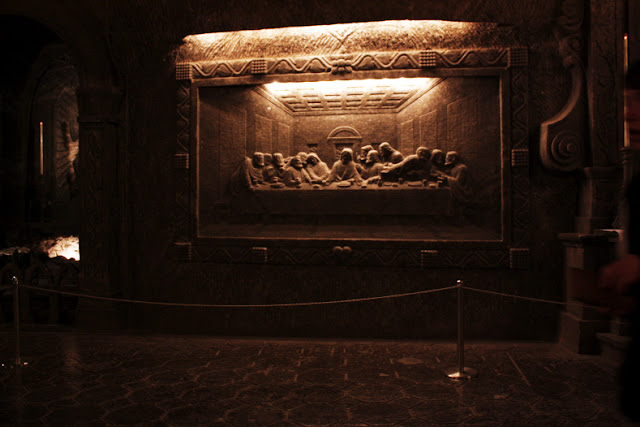 "Leonardo's ""The Last Supper"" carved into the salt wall"
