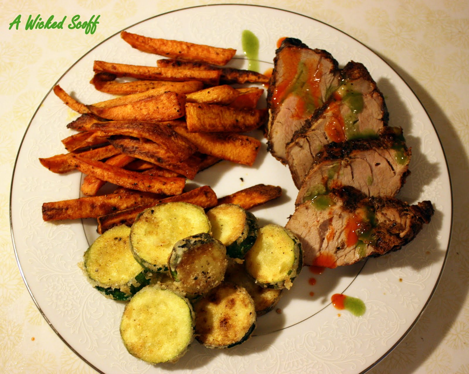 pan fried pork chops with creamy gravy dry fried pork with zucchini ...