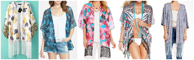 Romwe Tassel Florals Loose Kimono $16.67 (regular $31.72)  Sun & Shadow Sheer Kimono $22.80 (regular $38.00)  Chelsea & Theodore Floral Print Fringe Kimono $24.15 (regular $69.00)  Becca Aztec Print Fringe Kimono $30.99 (regular $82.00) alternate link  Tart Holly Wrap $54.97 (regular $150.00) the gray one is really cute too!