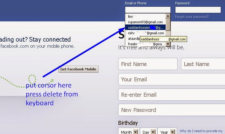 How To Delete Facebook Log In Emails from Browser