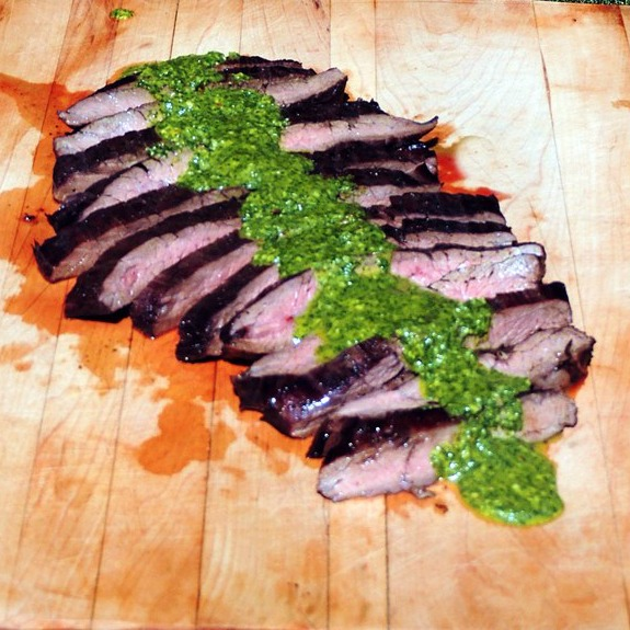 Merlot Marinated Flank Steak with  Spicy Chimichurri