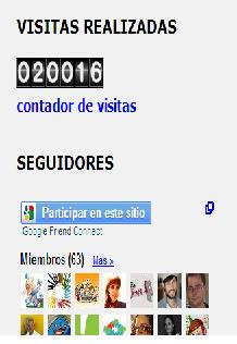 La foto muestra el contador de visitas del blog del Equipo de Granada. También aparecen algunos iconos de sus 63 seguidores.