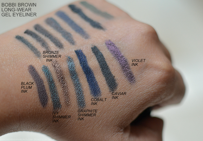 Bobbi Brown Long-Wear Gel Eyeliners Swatches Black Plum Ivy Shimmer Bronze Graphite Cobalt Caviar Violet Ink