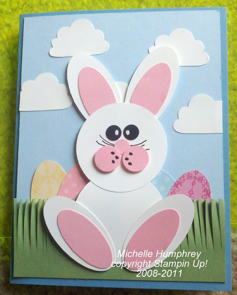 here is my sample of my punched bunny card for my swap i had so much ...