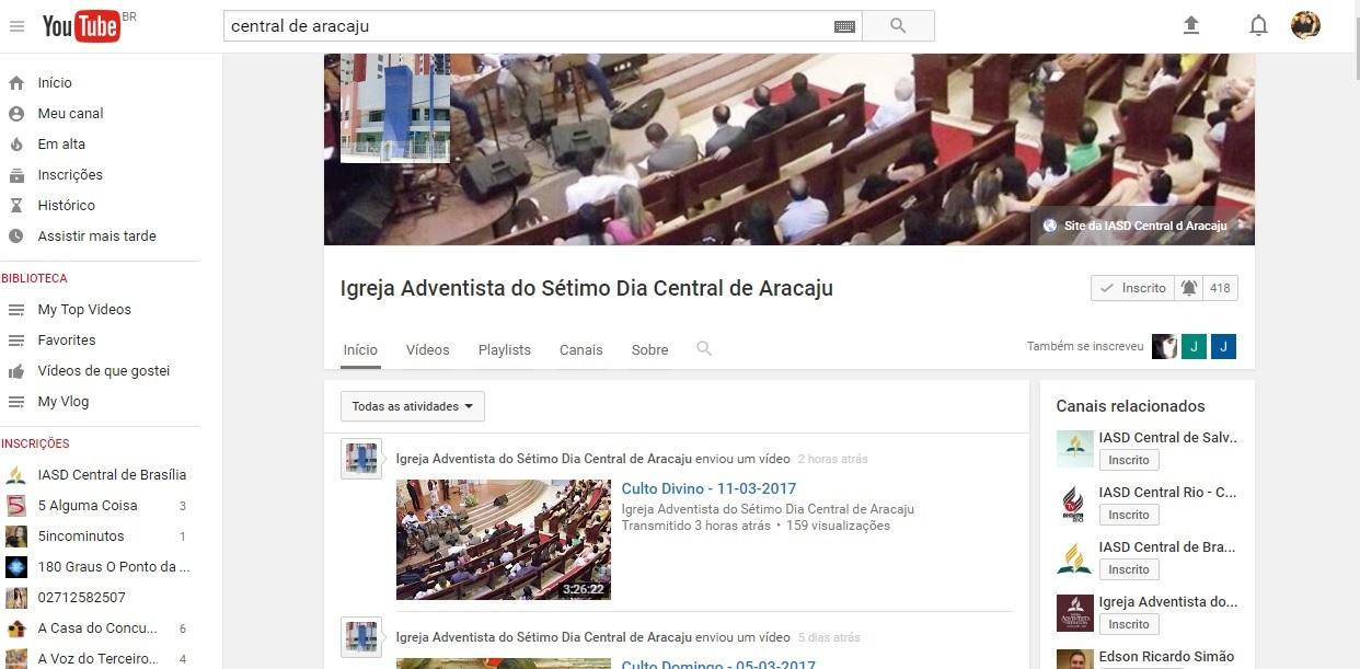 IASD Central Aracaju no YOUTUBE clique na imagem aqui embaixo: