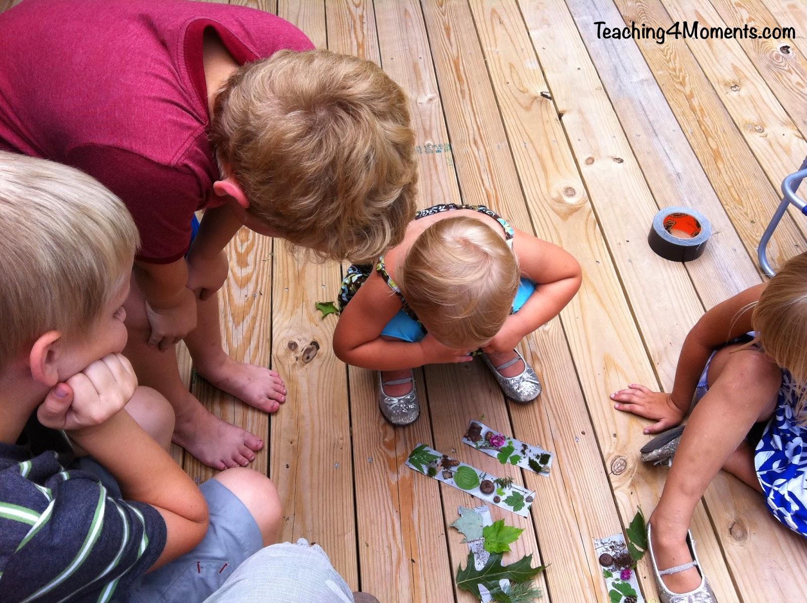 Teaching 4 Moments-Duct tape bracelet nature walk