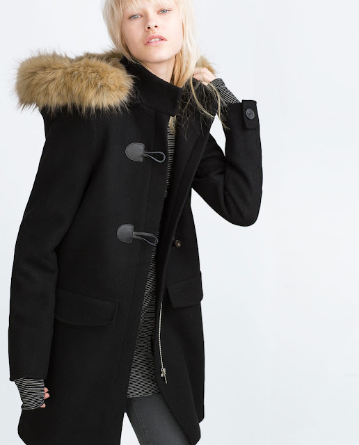 zara black wool coat fur hood, black duffle coat with fur hood,