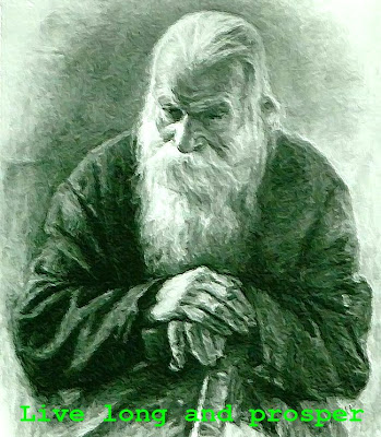 Drawing of very old man