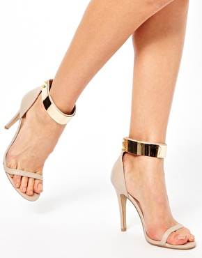 Gold ankle plate ASOS heels with gold studs and ankle zip