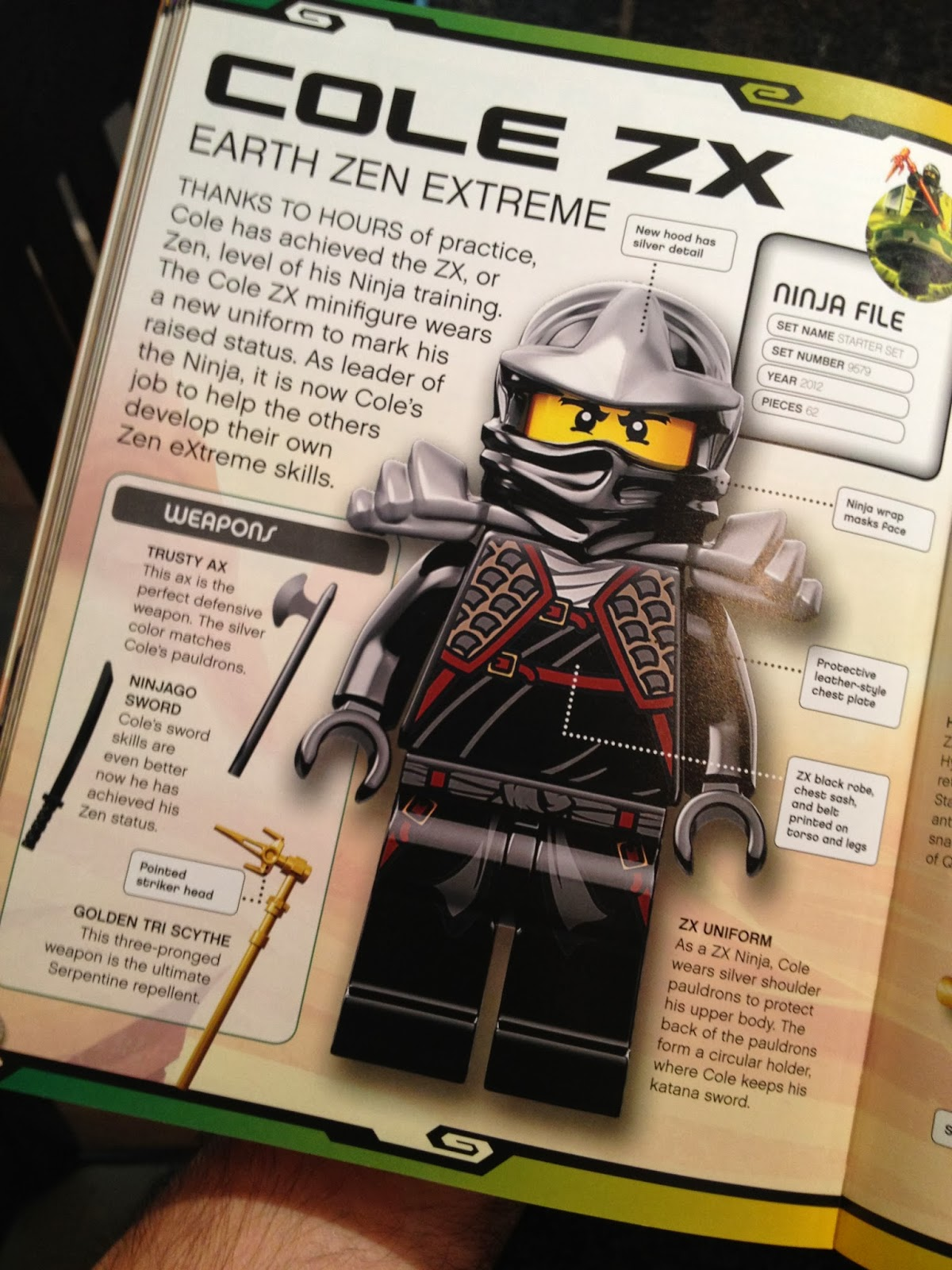 LEGO black NINJAGO COLE ZX HELMET MASK PART MINIFIGURE new