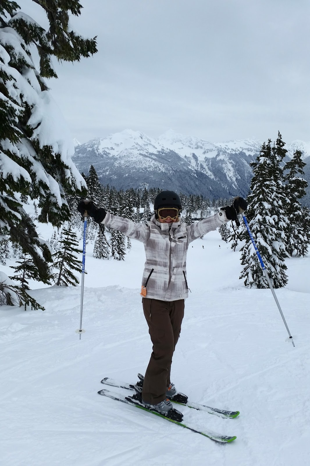 a women skiing poses for picture at top of mountain