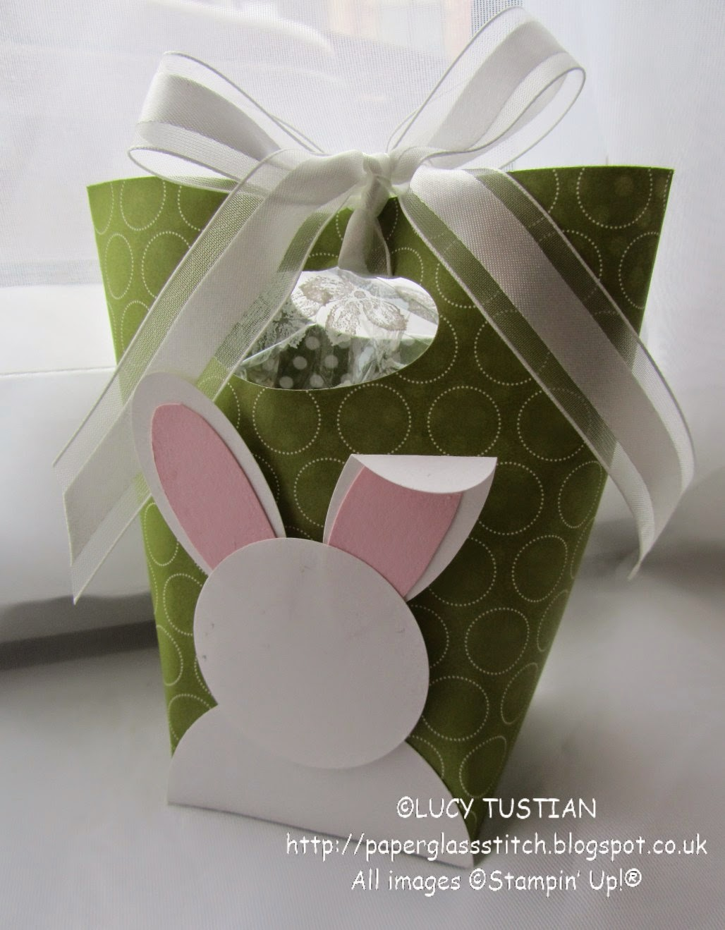 Paper glass stitch easter bunny bucket gift bag tutorial to make the bag you first need to make a tray box cut a piece of old olive cardstock to 10cm x 10cm 3 1516ths x 3 1516ths and score negle Gallery
