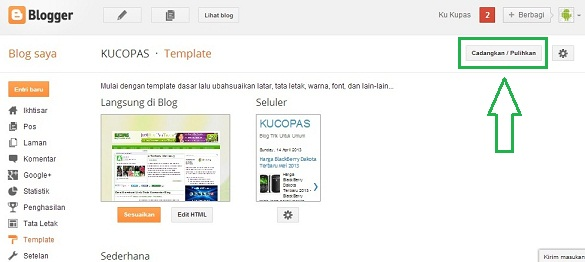 Ganti Template Blog