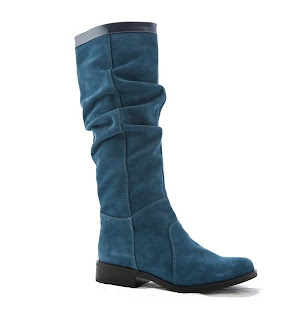 cizme albastre dama din piele intoarsa fara toc incretite pe gamba