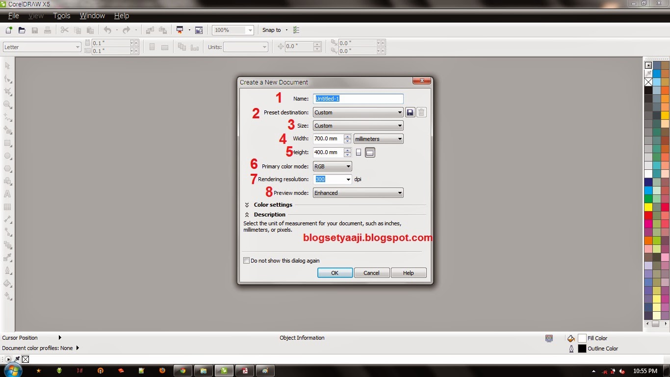 Pengaturan New Blank Document CorelDraw X5