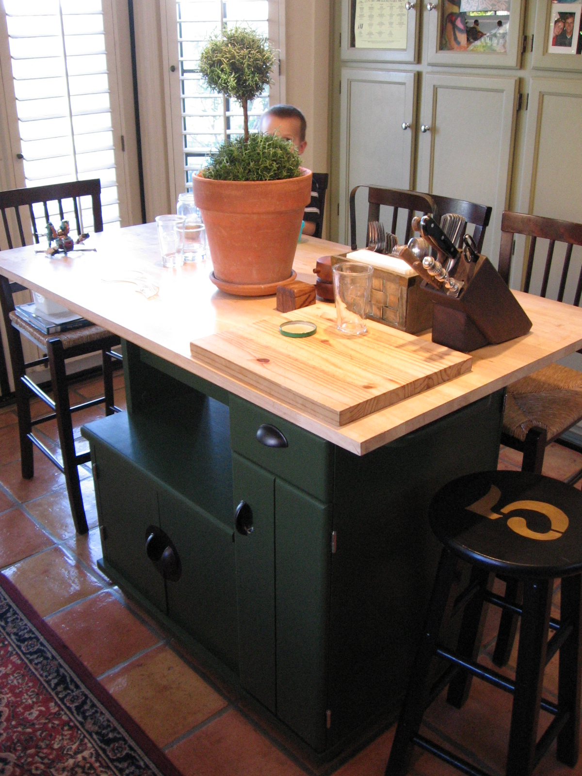 Diy kitchen island cart kitchen island on casters origami folding diy kitchen island cart second coat of green paint added handles to cabinets and solutioingenieria Gallery