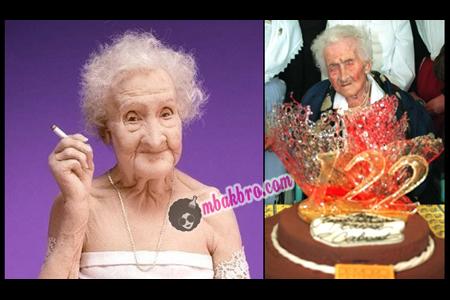 Jeanne Calment di ulang tahunnya yang ke-122
