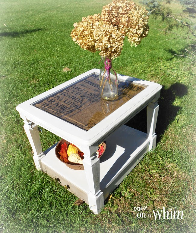 Burlap End Table Makeover from Denise on a Whim