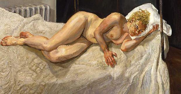 Ria,naked Portrait by the portrait painter Lucian Freud