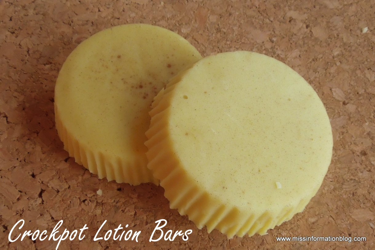 2 finished slow cooker lotion bars
