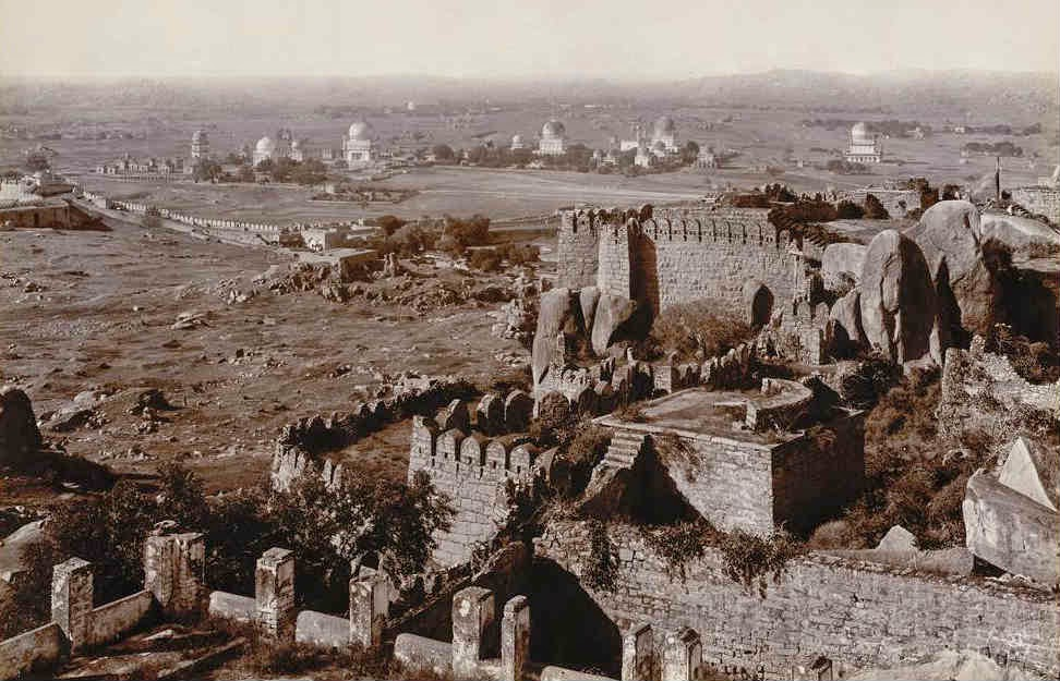 A rare photograph in which the Qutub Shahi tombs are visible from the summit of Golconda Fort