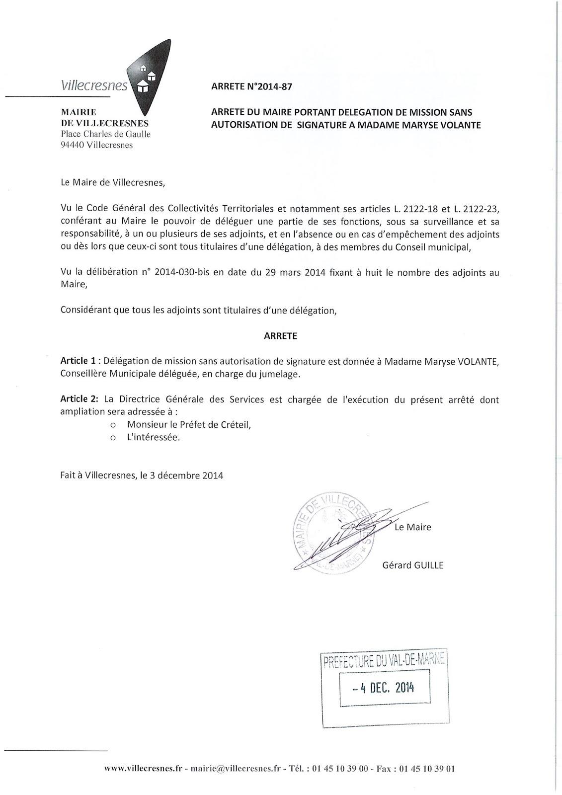 2014-087 Délégation de fonction mission sans autorisation de signature à Madame Maryse Volante