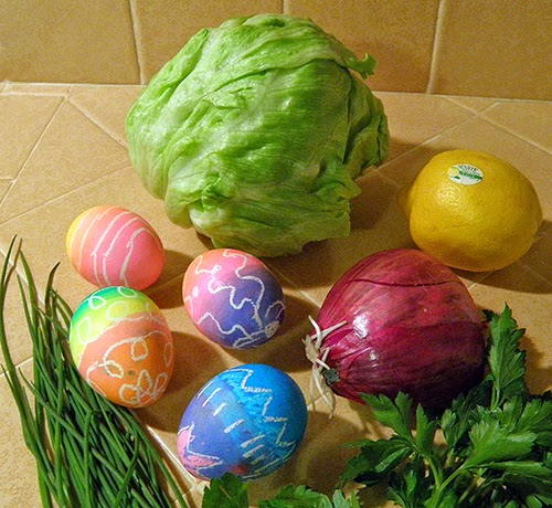 Iceberg Lettuce, Easter Eggs, Lemon, Red Onion, Chives, and Parsley