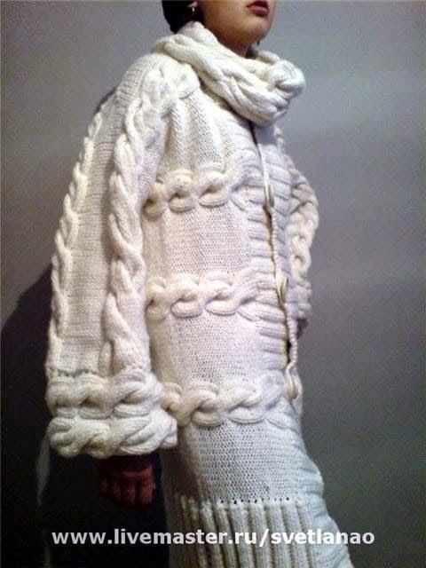 Объемные пальто вязать