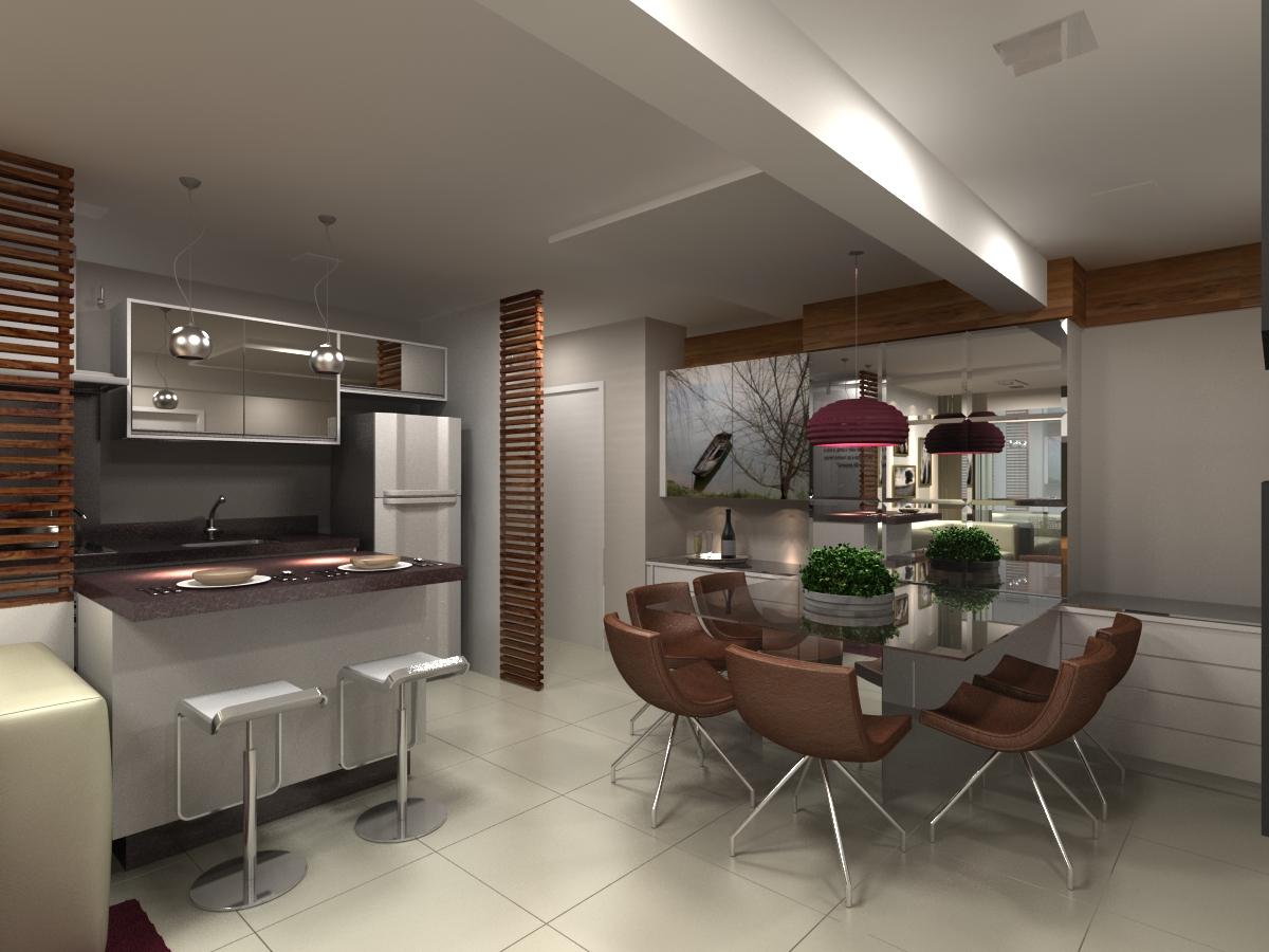 Sala de jantar integrada com cozinha e sala de estar #945737 1200 900