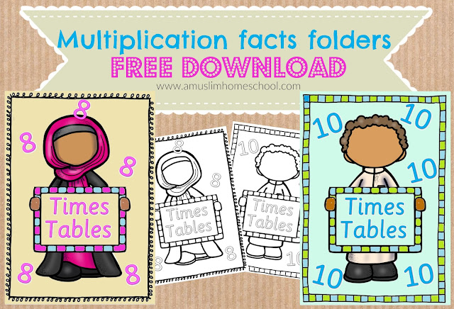Free printable Multiplication fact folders.