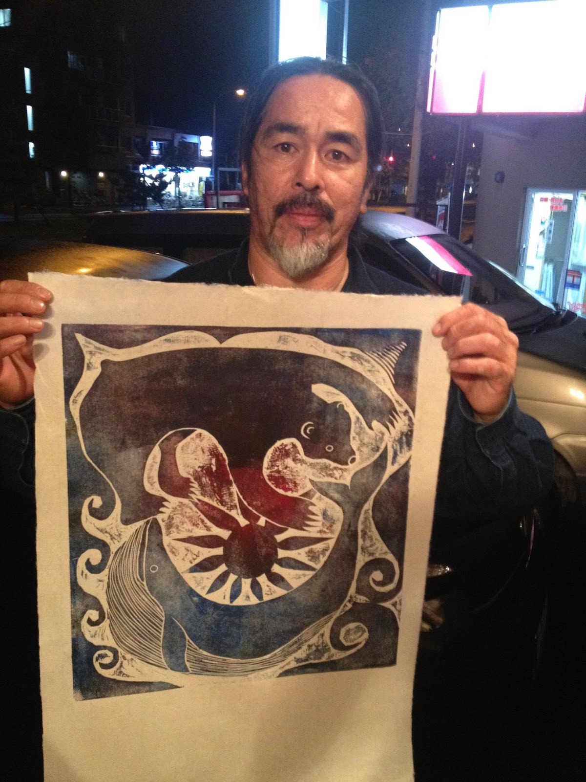 Woodblock print for donation Koji Yuki designed