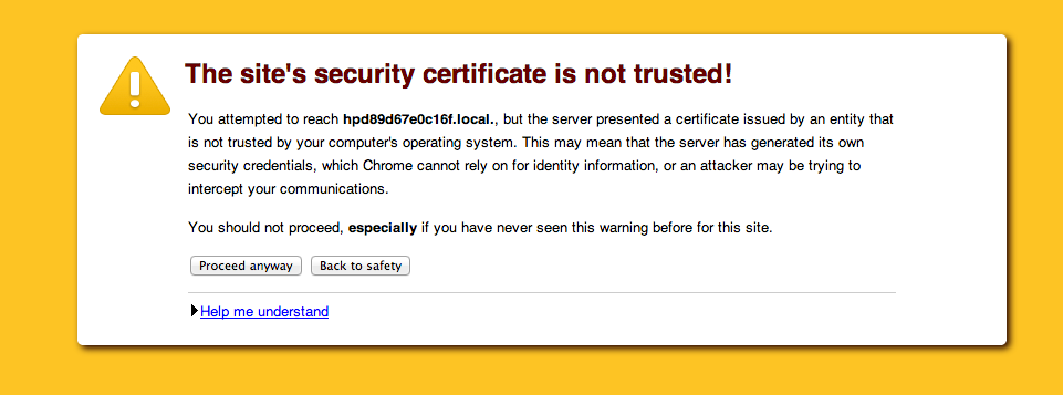 This site's security certificate is not trusted!