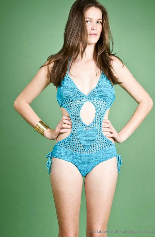 Moda Tejidos verano 2014. Agostina Bianchi mallas y bikinis tejidas.