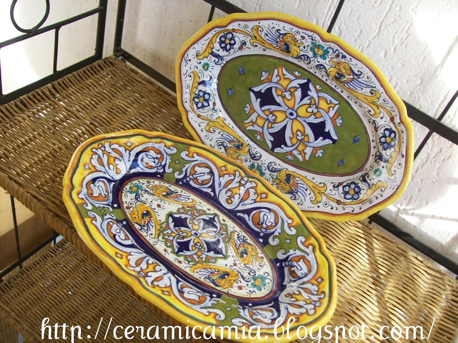 ceramica che passione decorazioni su piatti di portata di