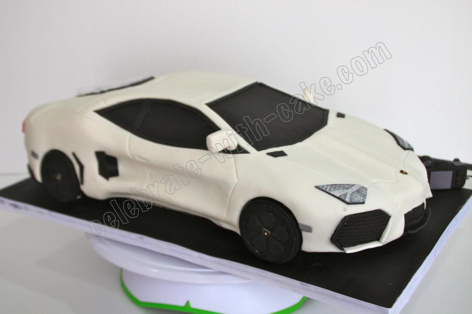 Sculpted Lamborghini Aventador Cake