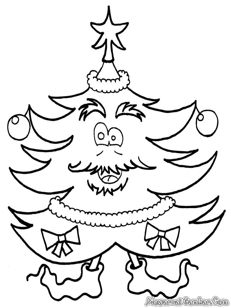 Lembar Mewarnai Gambar Pohon Natal Untuk Anak Anak