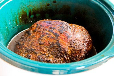 Slow Cooker Pork Sirloin Tip Roast with Balsamic Vinegar, Rosemary, and Red Onions found on KalynsKitchen.com