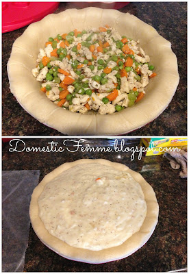 Chicken Pot Pie {by Domestic Femme}  #Recipe #Recipes #Food #Foods #Dinner #Dinners #Idea #Ideas #Fall #Winter #Meal #Meals #Celery #Carrots #Peas #Crust #Comfort #Comforting #Dish #Dishes #Design #Designs