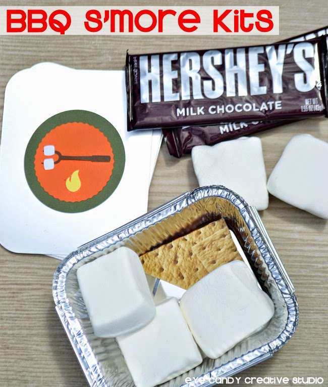 BBQ s'more kits, hot to make a s'more kit, camping, s'mores