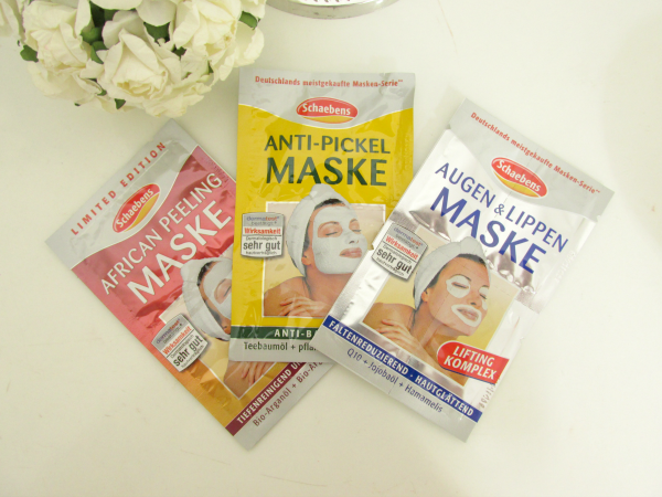Schaebens Masken Portionsmasken african peeling, anti-pickel, augen und lippen, review, testbericht erfahrungen