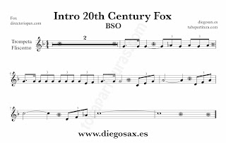 Partitura de la Sintonía de la 20th Century Fox para Trompeta y Fliscorno by Alfred Newman Sheet Music for Trumpet and Flugelhorn Music Scores
