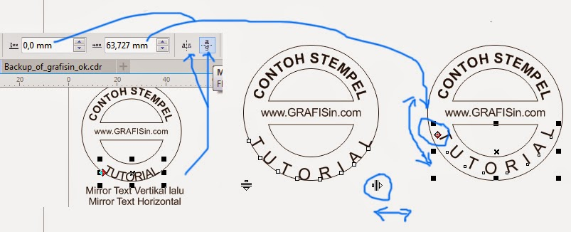 Proses Perenggangan Tulisan dan Mirror pada Stempel di CorelDraw X7