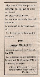 Décès Malaerts Joseph